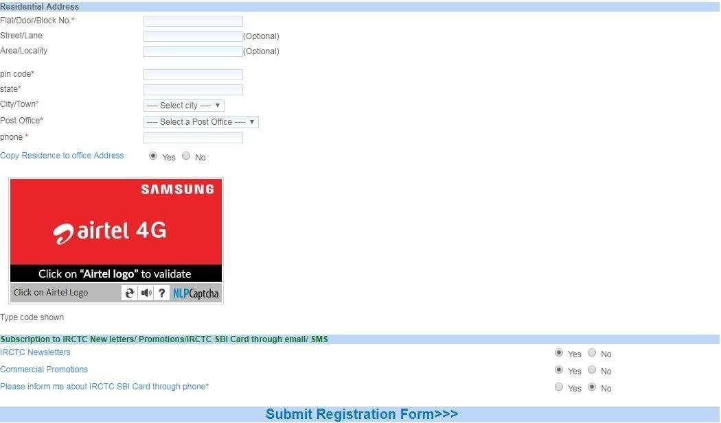 irctc registeration