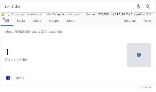 roll a die google trick