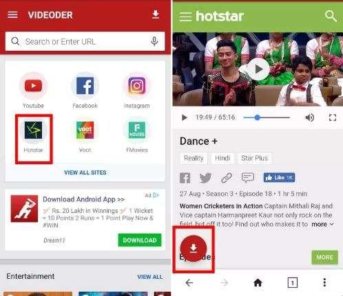 videoder download hotstar