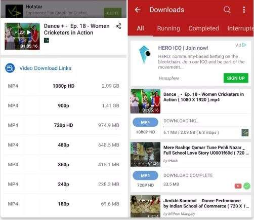 downloading hotstar videos in android