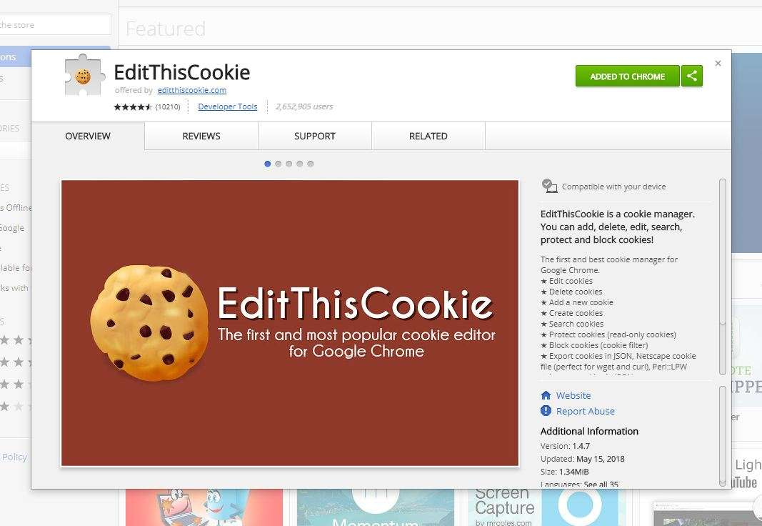 edit the cookies